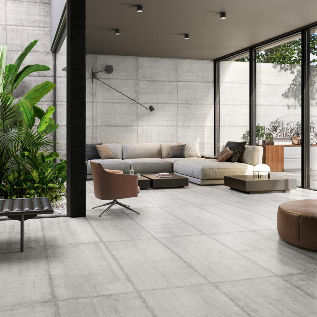 Salon a carrelage imitation beton mais produit en gres cerame