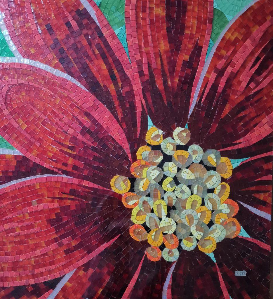 mosaique couleur fleur fait main