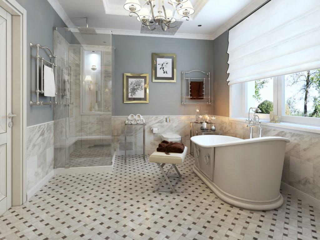 salle de bain avec sol en mosaique ton beige marron