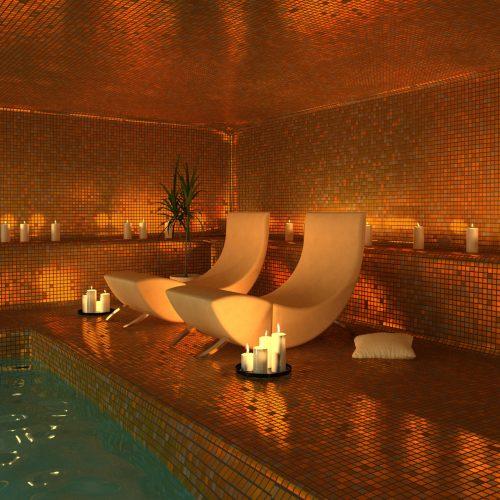 mosaique de verre metalisee coloris bronze pour piscine